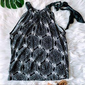 WHBM Sleeveless Blouse Silk Blend Tie Neck S